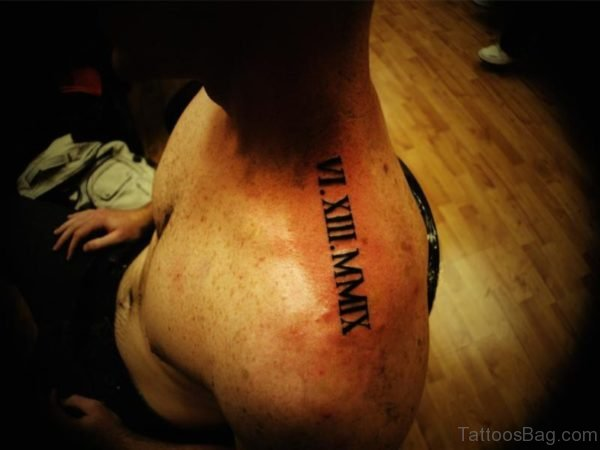 Sweet Roman Numeral Tattoo On Neck