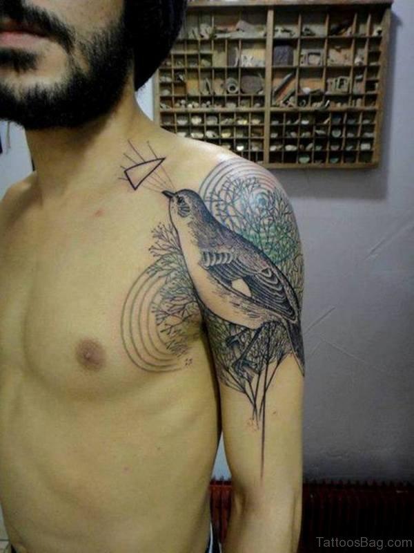 Sweet Sparrow Geometric Tattoo