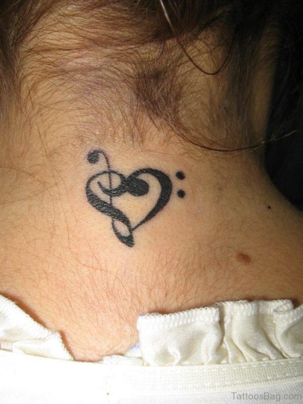 Sweet Tiny Heart Tattoo On Neck