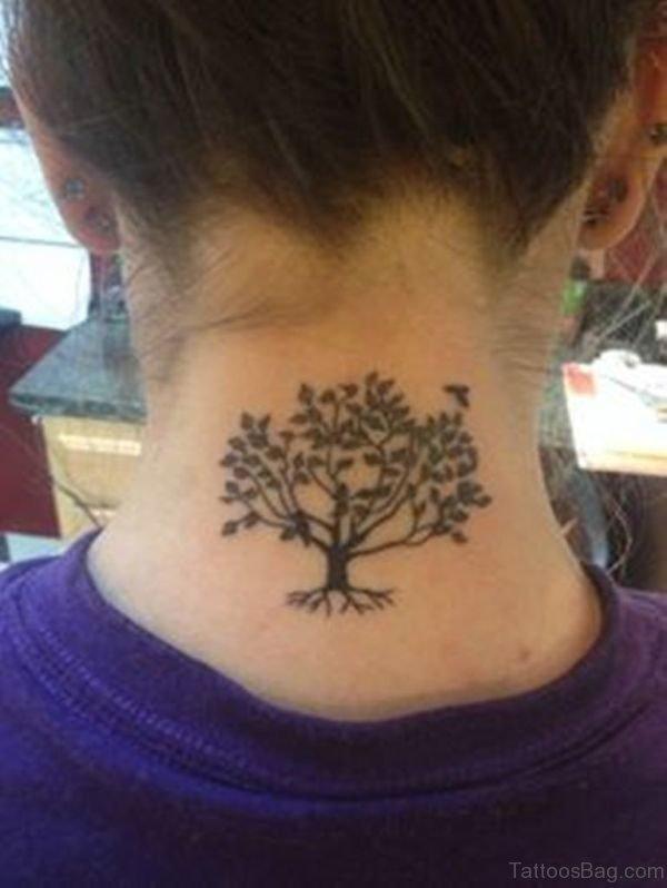 Sweet Tree Tattoo On Neck
