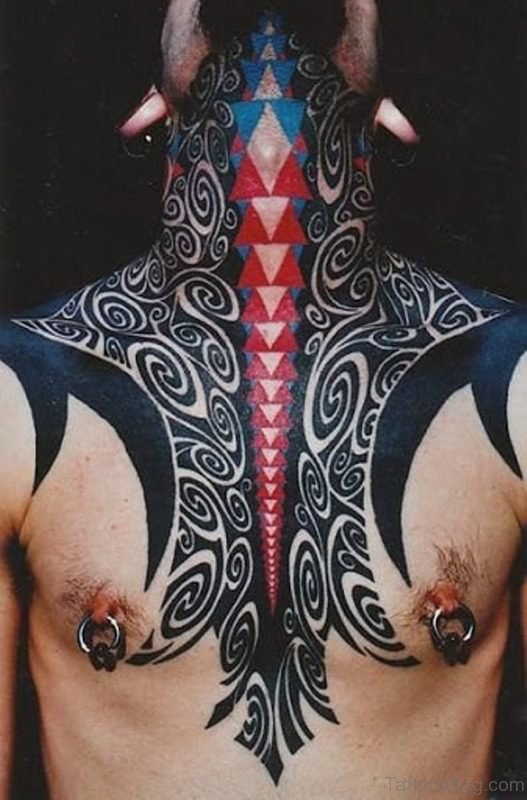 Sweet Tribal Colored Tattoo On Neck