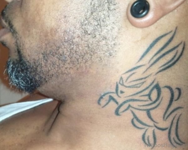 Sweet Tribal Rabbit Neck Tattoo