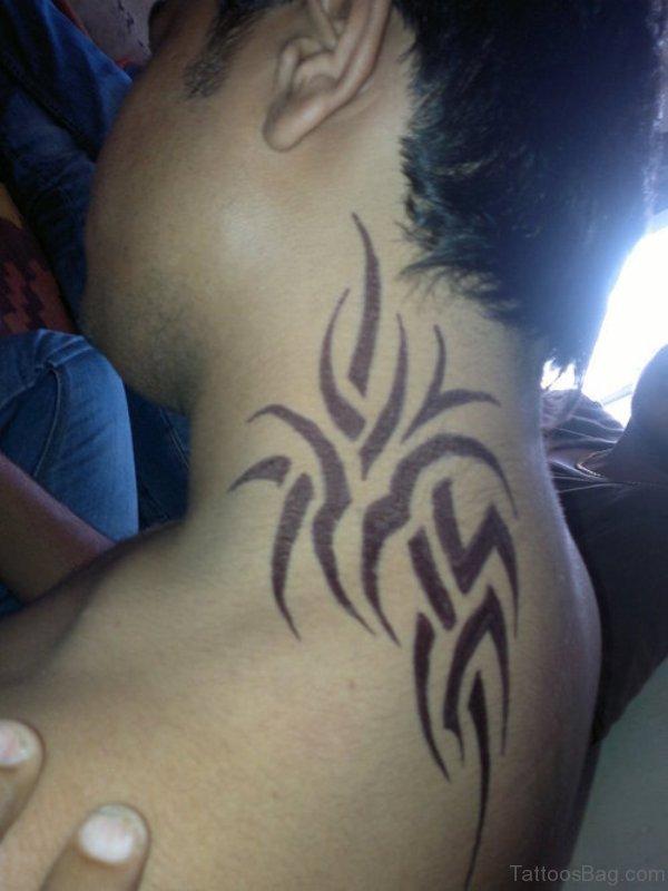 Sweet Tribal Tattoo On Neck