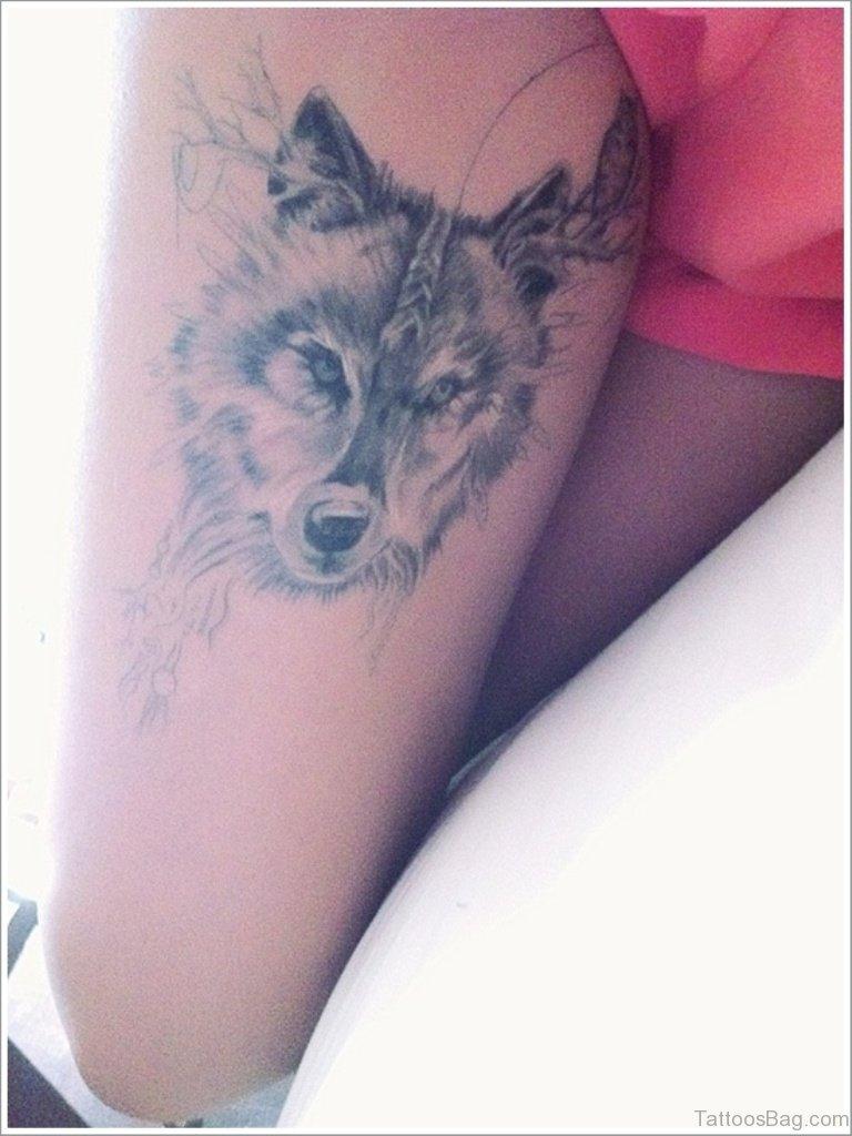 41 marvelous wolf tattoos for leg. Black Bedroom Furniture Sets. Home Design Ideas
