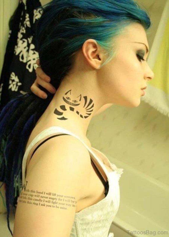 Sweet tribal Cat Neck Tattoo