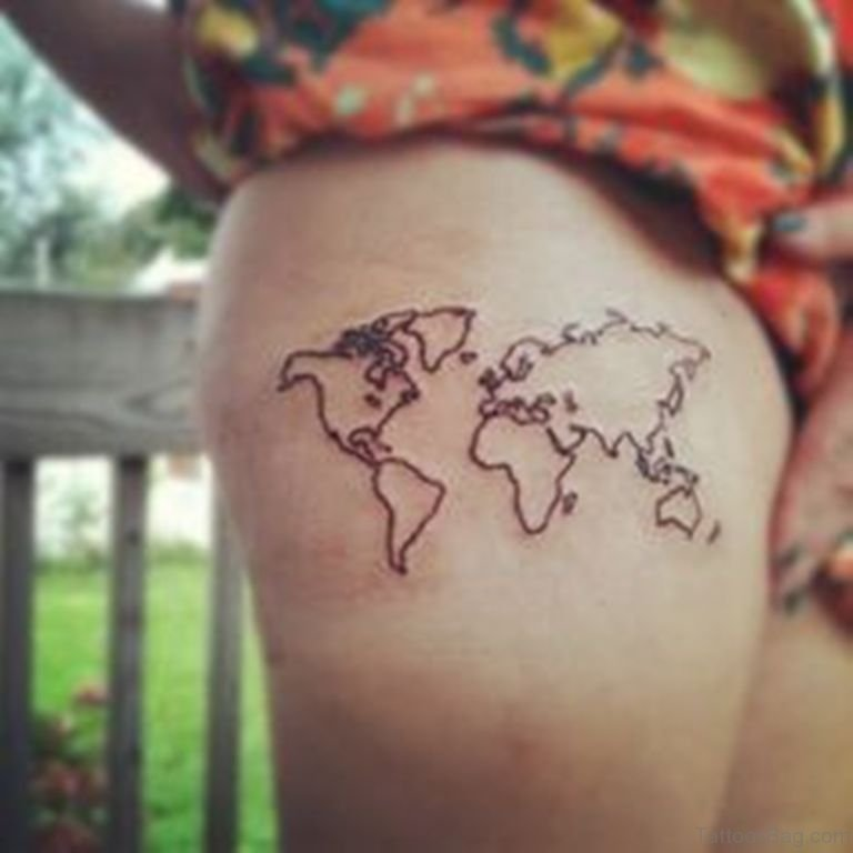 22 world map tattoos for thigh sweet map tattoo gumiabroncs Image collections