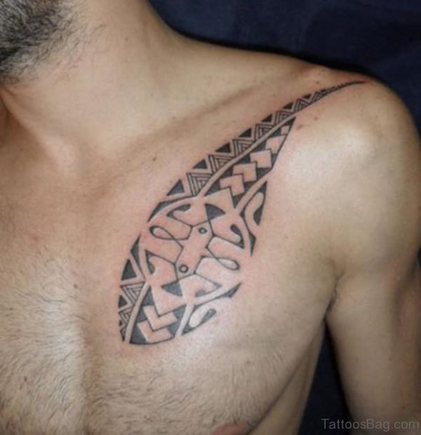 Tahiti Tribal Tattoo On Chest