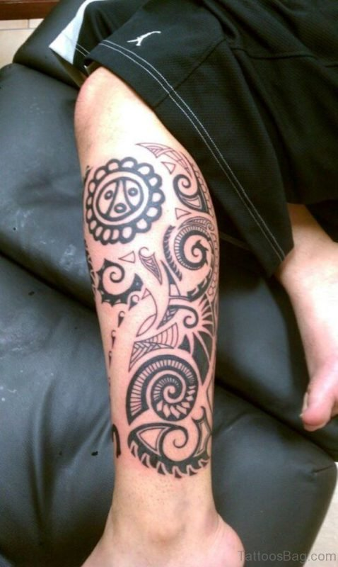 Taino Tribal Tattoo on Leg