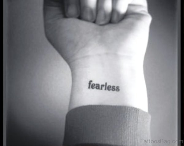 Temporary Fearless Wrist Tattoo