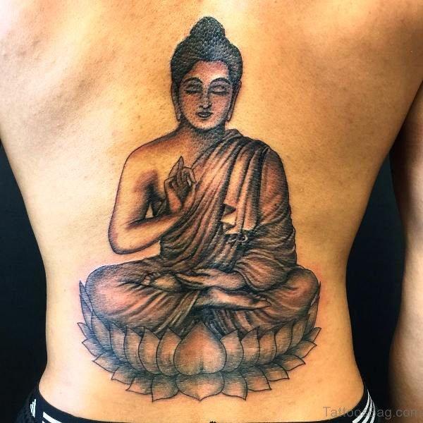Terrific Peace Buddha Tattoo On Back