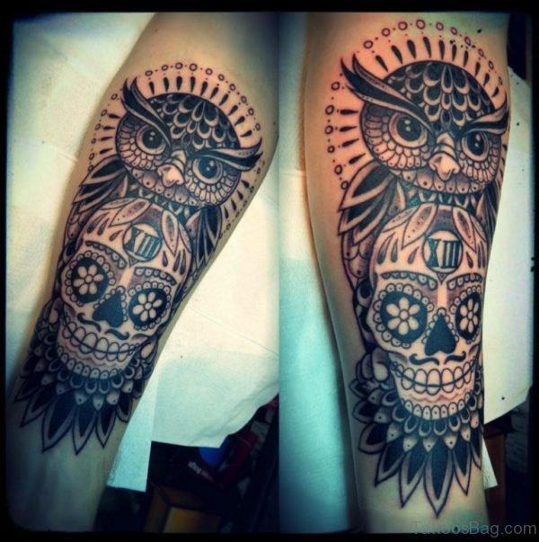 Terrifying Alien Skull Tattoo On Leg