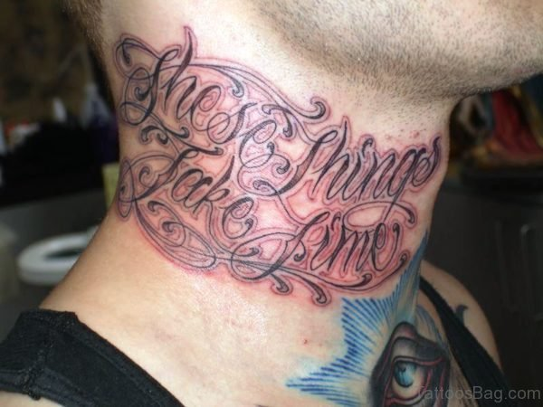 These Things Take Time Tattoo On Neck