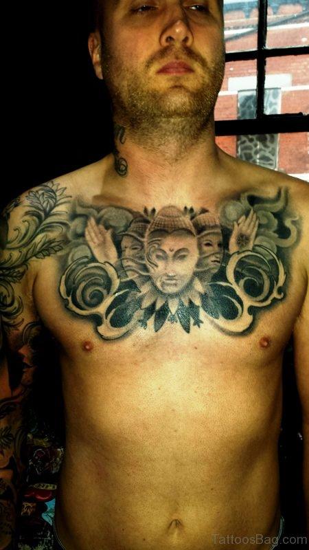 Three Faced Buddha Tattoo On Chest
