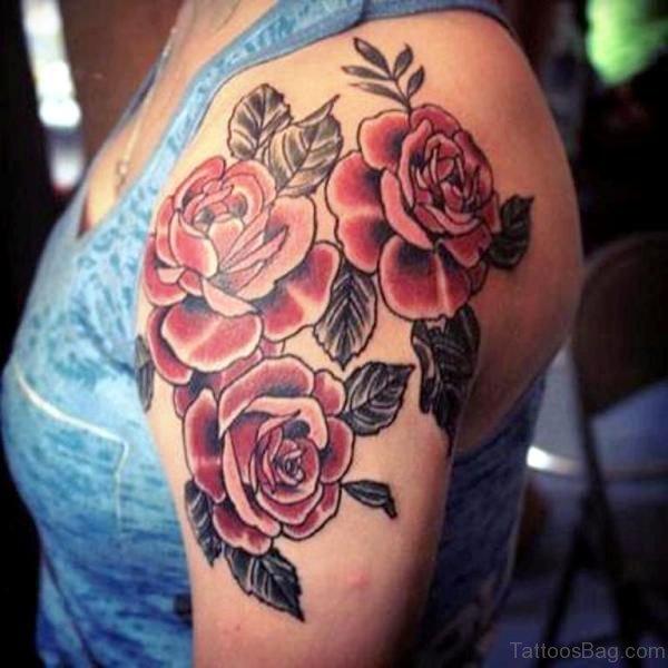 Three Rose Flower Tattoo On left Shoulder