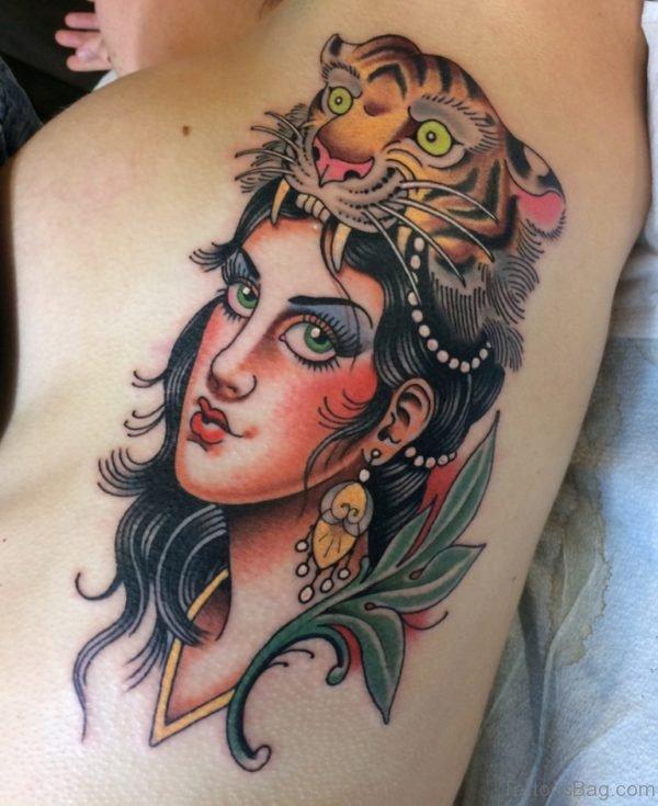 Tiger And Girl Portrait Tattoo On Rib