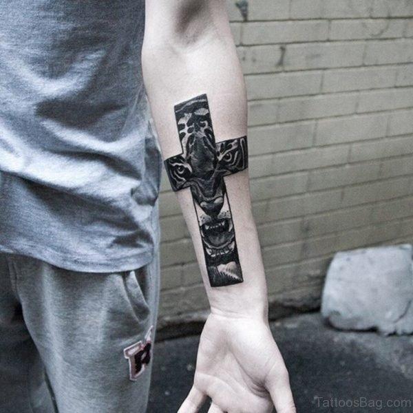 Tiger Cross Tattoo On Arm