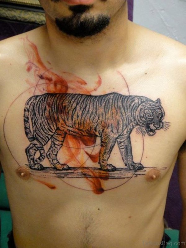 Tiger Tattoo Design On Chest