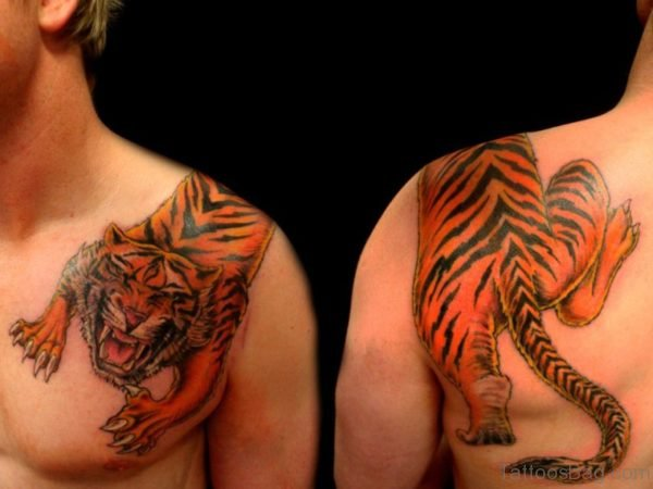 Tiger Tattoo On From Shoulder