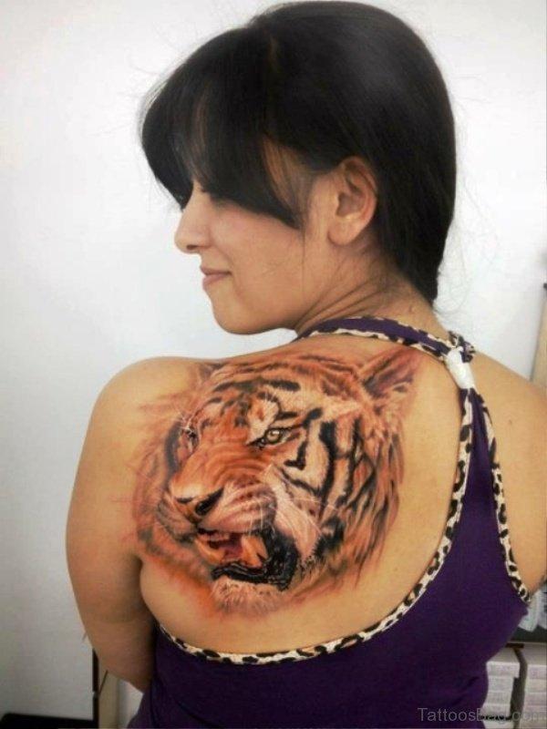 Tiger Tattoo On Left Shoulder Back
