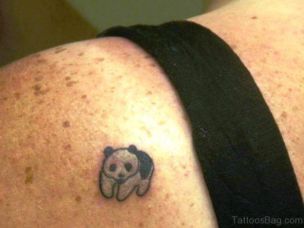 Tinny Panda Shoulder Tattoo Design