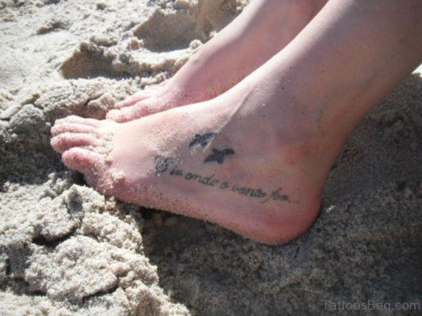 Tiny Birds Wording Tattoo On Foot