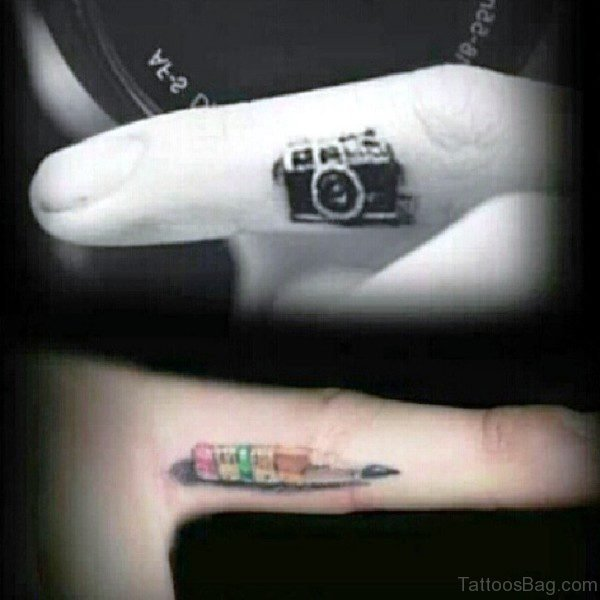Tiny Camera Tattoo On Finger