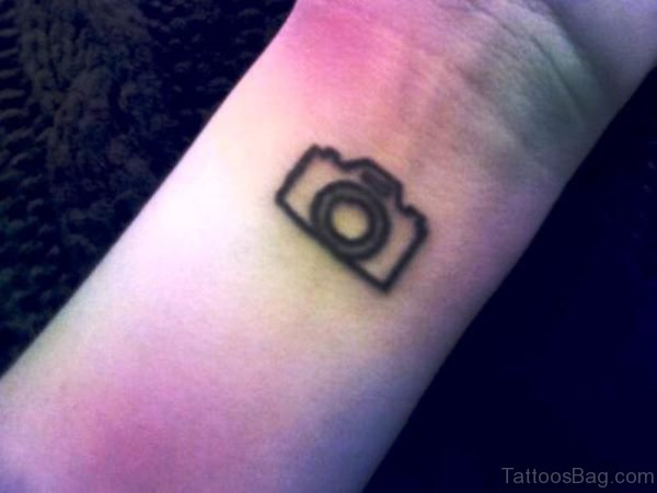 Tiny Camera Wrist Tattoo