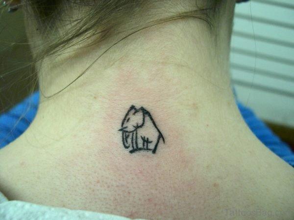Tiny Elephant Tattoo On Shoulder