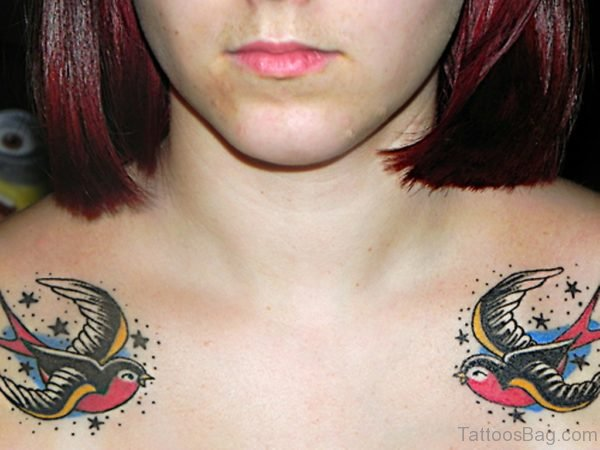 50 beautiful swallow tattoos on chest for Tiny star tattoos