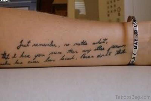 Tiny Wording Tattoo On Arm