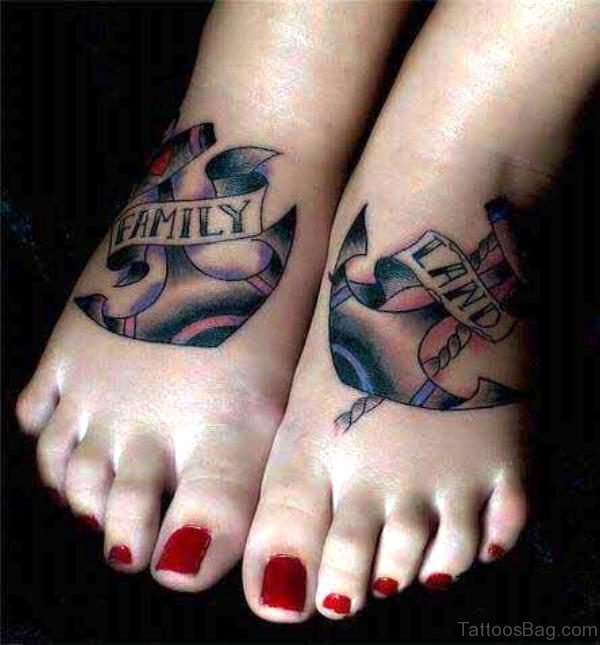 Traditional Anchor Tattoo On Feet