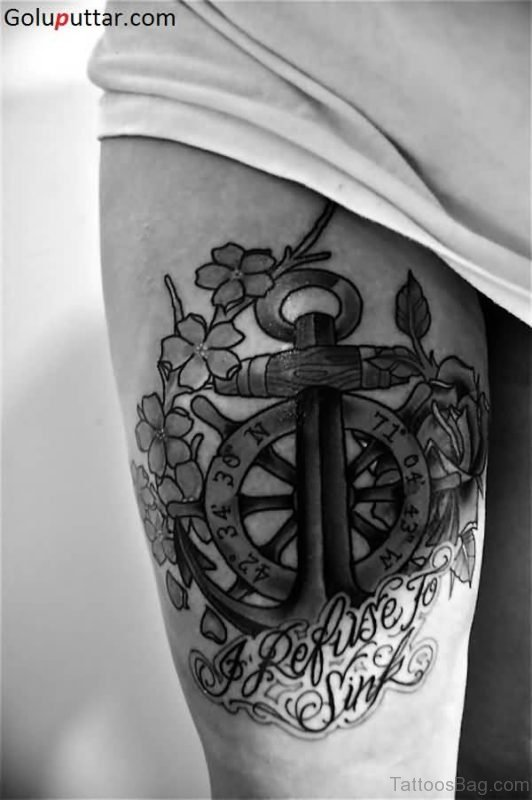 Traditional Anchor Tattoo On Girls Thigh
