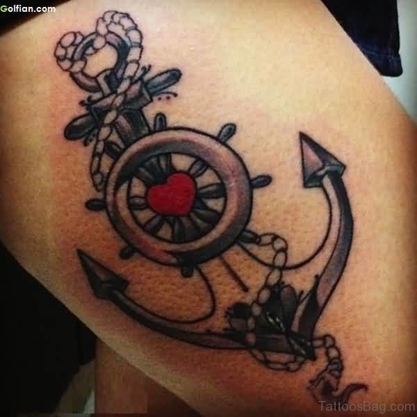 Traditional Anchor Tattoo On Thigh