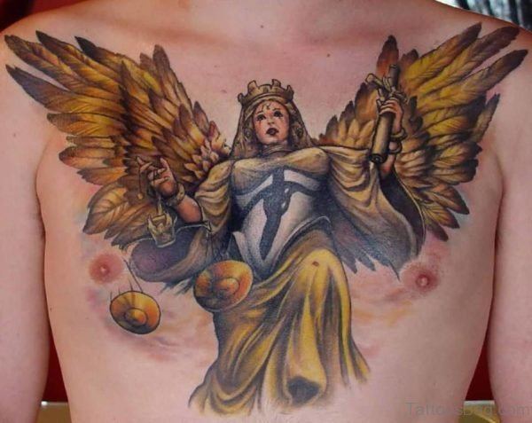 Traditional Angel With Wings Tattoo