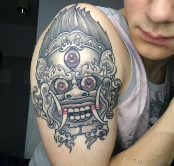 Traditional Barong Mask Tattoo On Shoulder