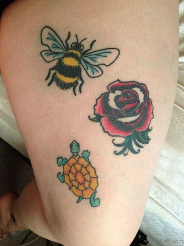 Traditional Bee With Rose Tattoo On Thigh