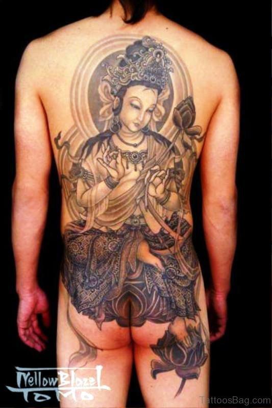 Traditional Buddha Tattoo On Back