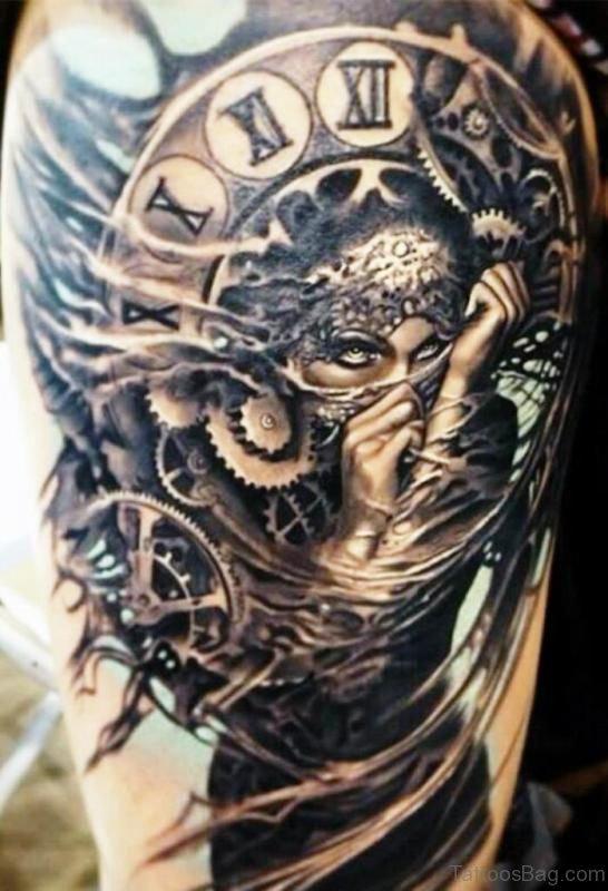 Traditional Clock Tattoo Design