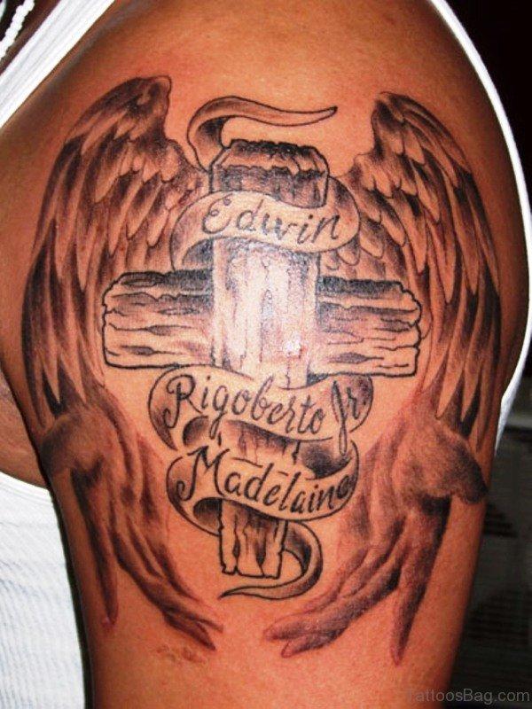 Traditional Cross Shoulder Tattoo