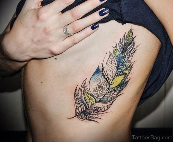 Traditional Feather Tattoo On Rib Side For Women
