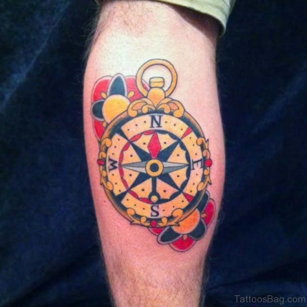 Traditional Feminine Compass Tattoo On Leg