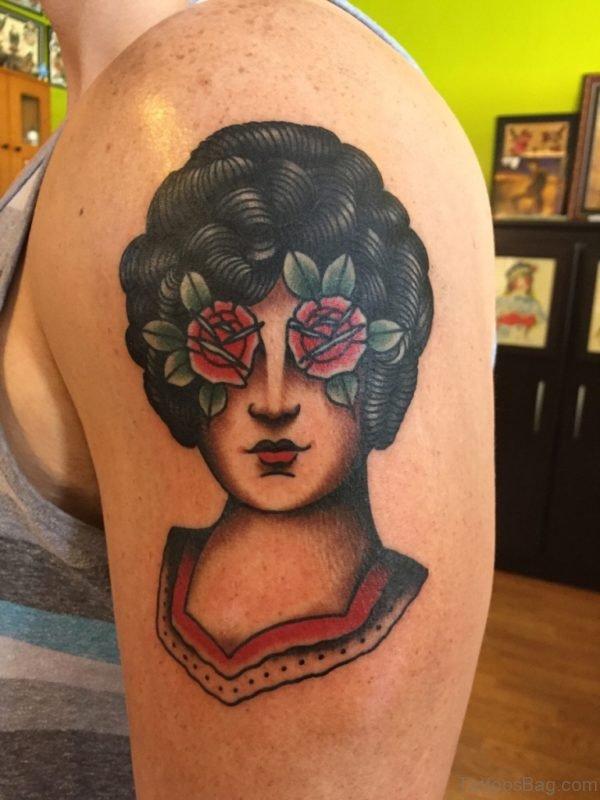 Traditional Girl Portrait Tattoo