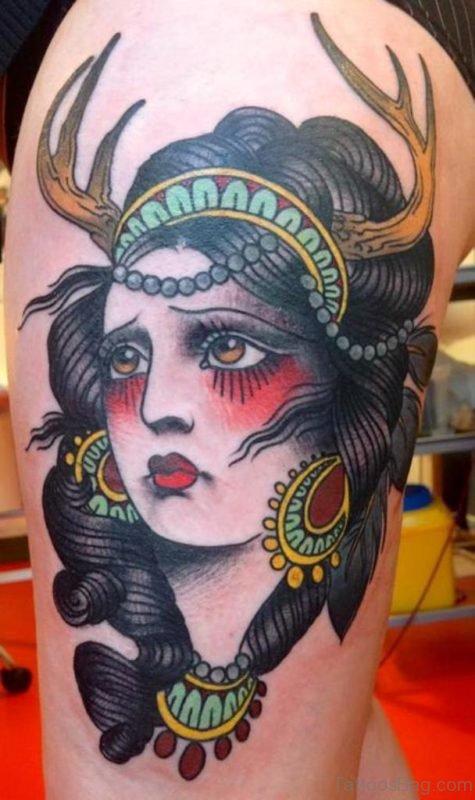 Traditional Gypsy Head Tattoo On Thigh