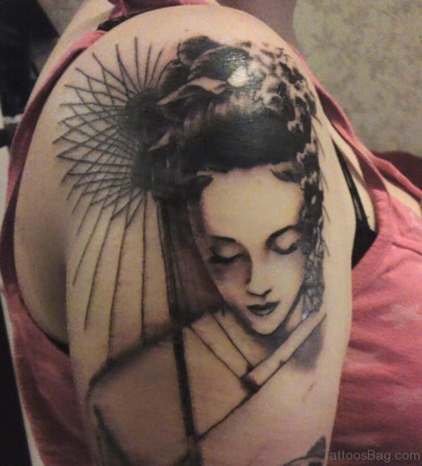 Traditional Japanese Geisha Tattoo On Shoulder