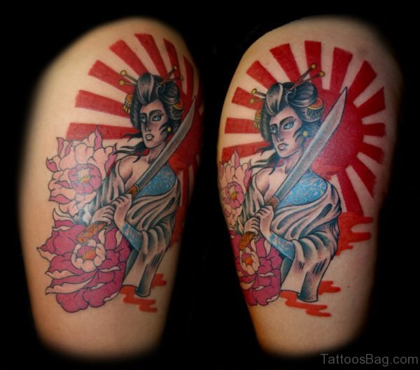 Traditional Japanese Geisha Tattoo On Thigh