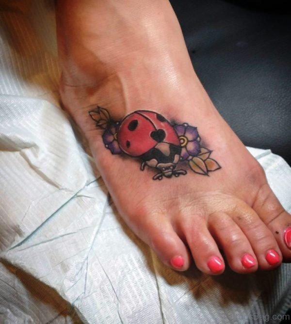 Traditional Ladybug Tattoo On Foot