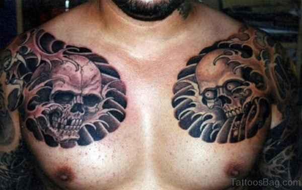 Traditional Skull Chest Tattoo
