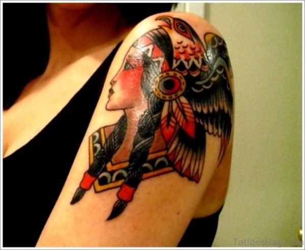 Traditional Tattoo Of Girl