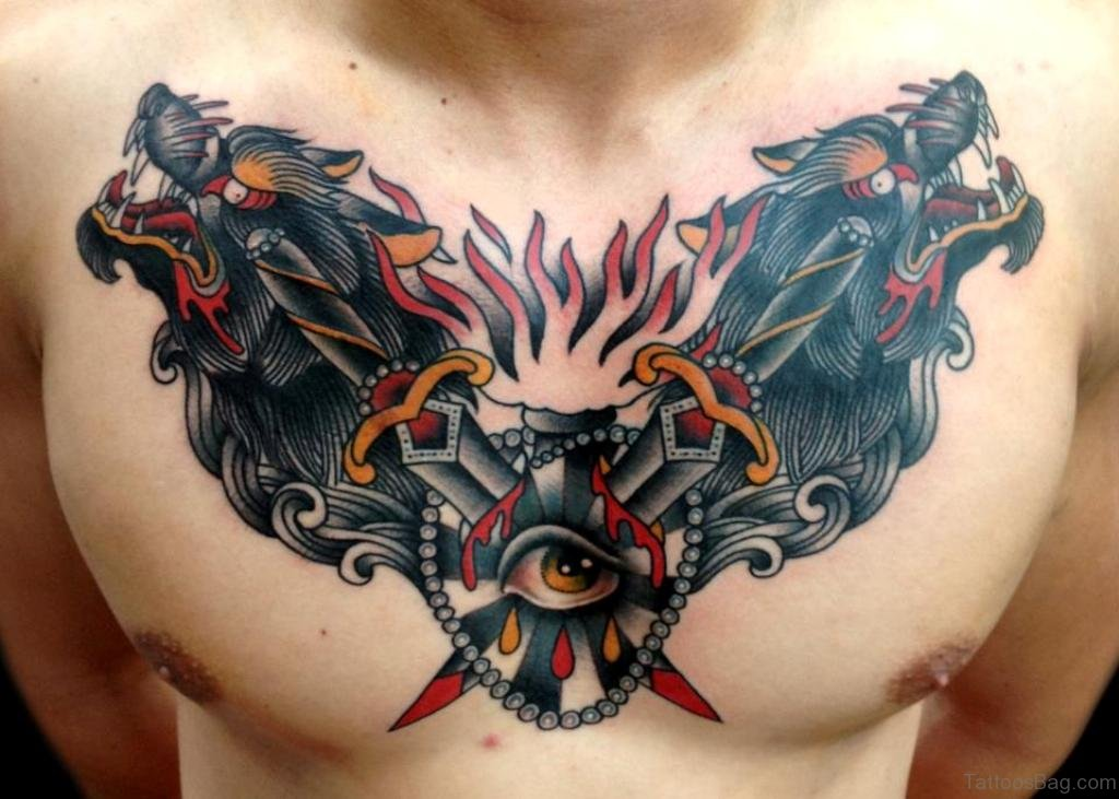 ca83e0fe8 Traditional Wolf Head Tattoos On Man Chest