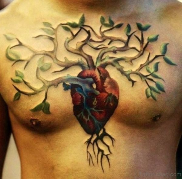 Tree And Black Heart With Wings Tattoo On Chest